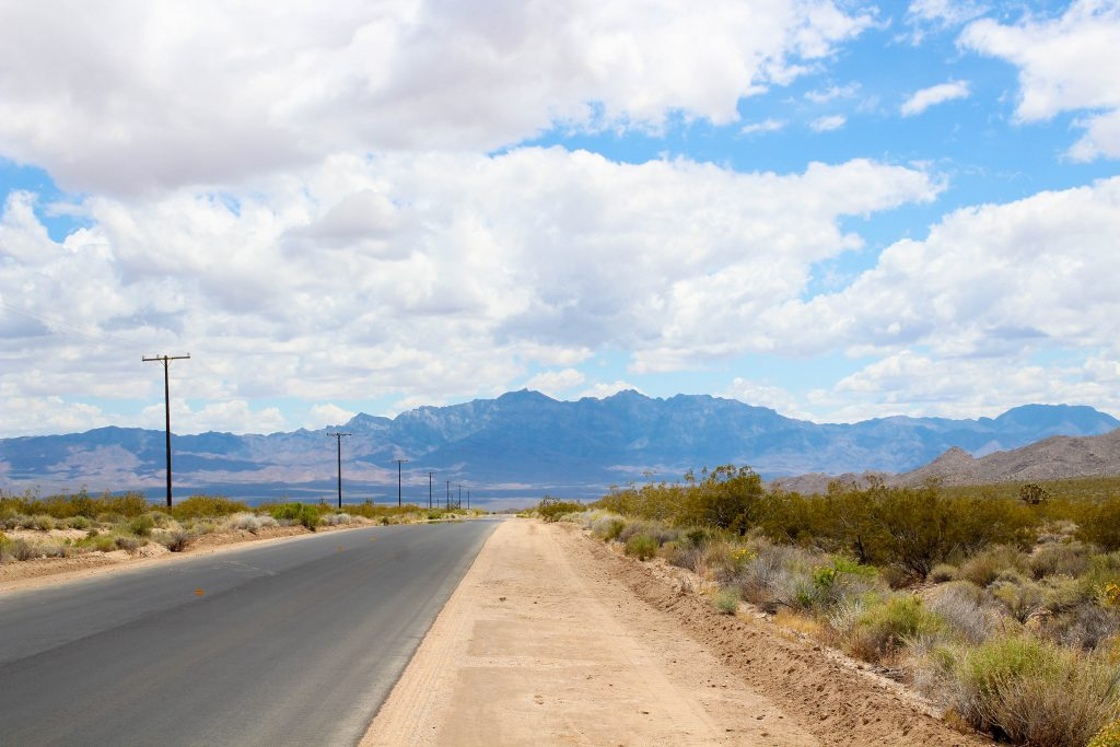Road leading towards a mountain at Mojave Desert National Preserve