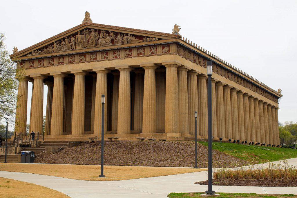 the nasvhille parthenon, a full-size replica of the parthenon in Athens