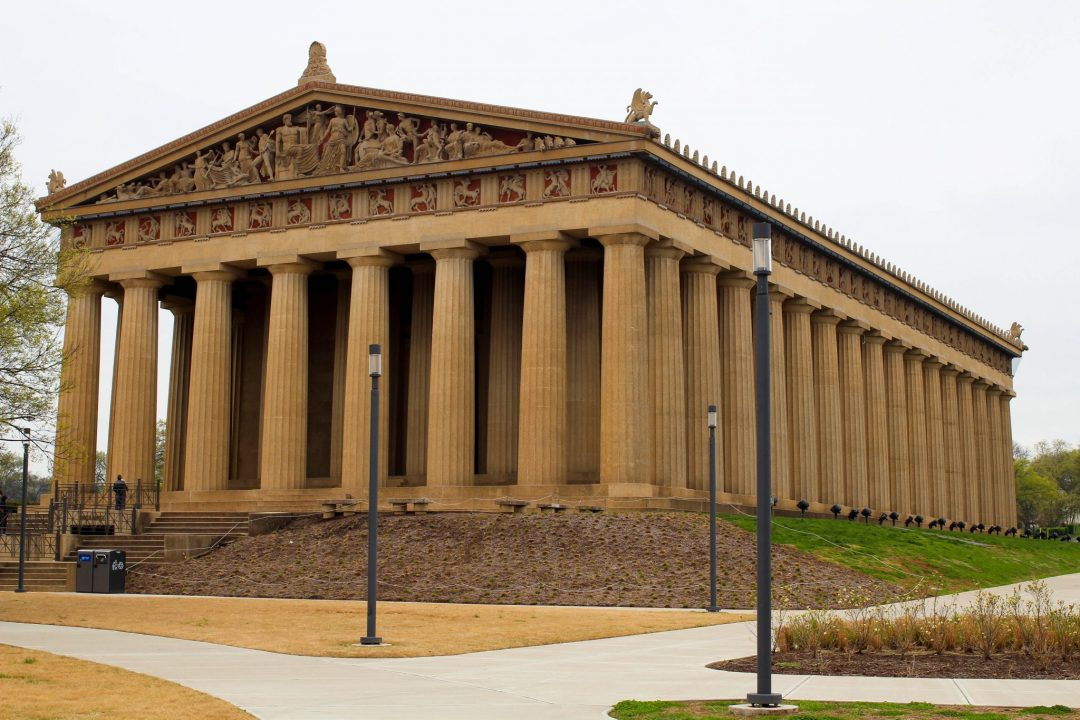 the Parthenon during one day in Nashville