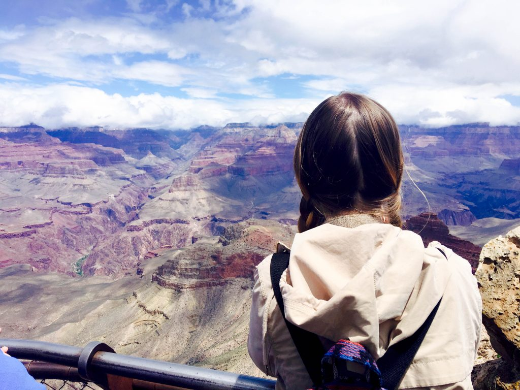 the back of a Addie's head looking out over the Grand Canyon at Mather Point