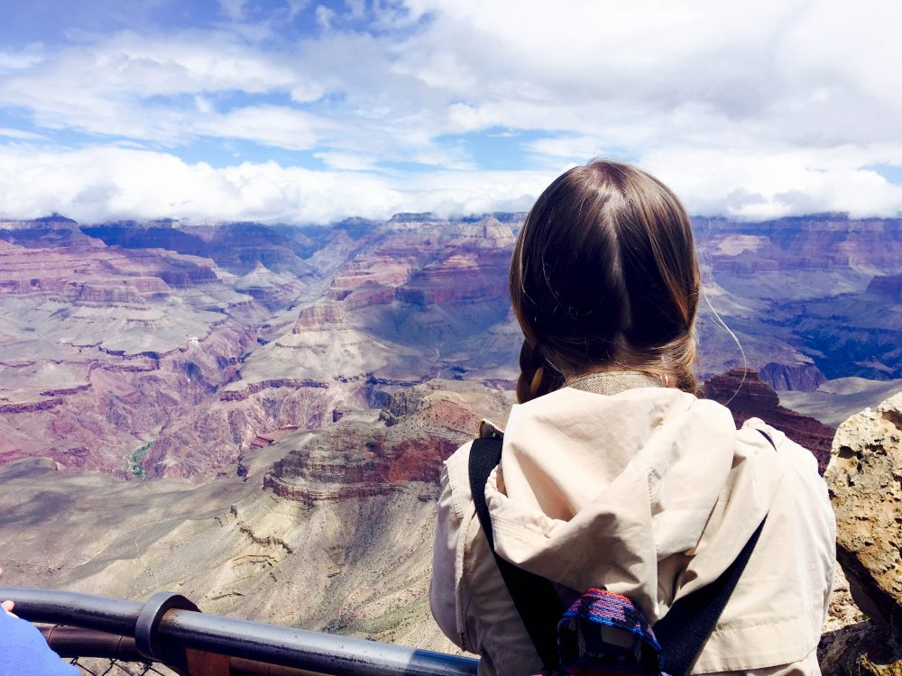 Addie overlooking the Grand Canyon Mather Point Addie