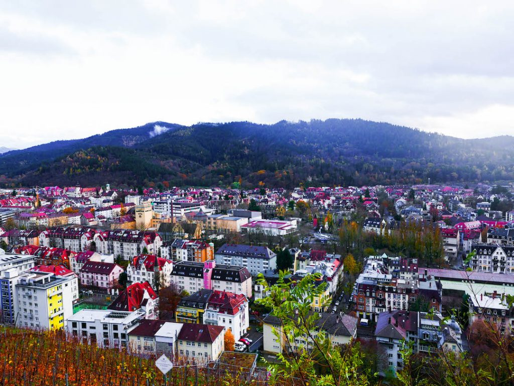 Freiburg from above on a rainy day
