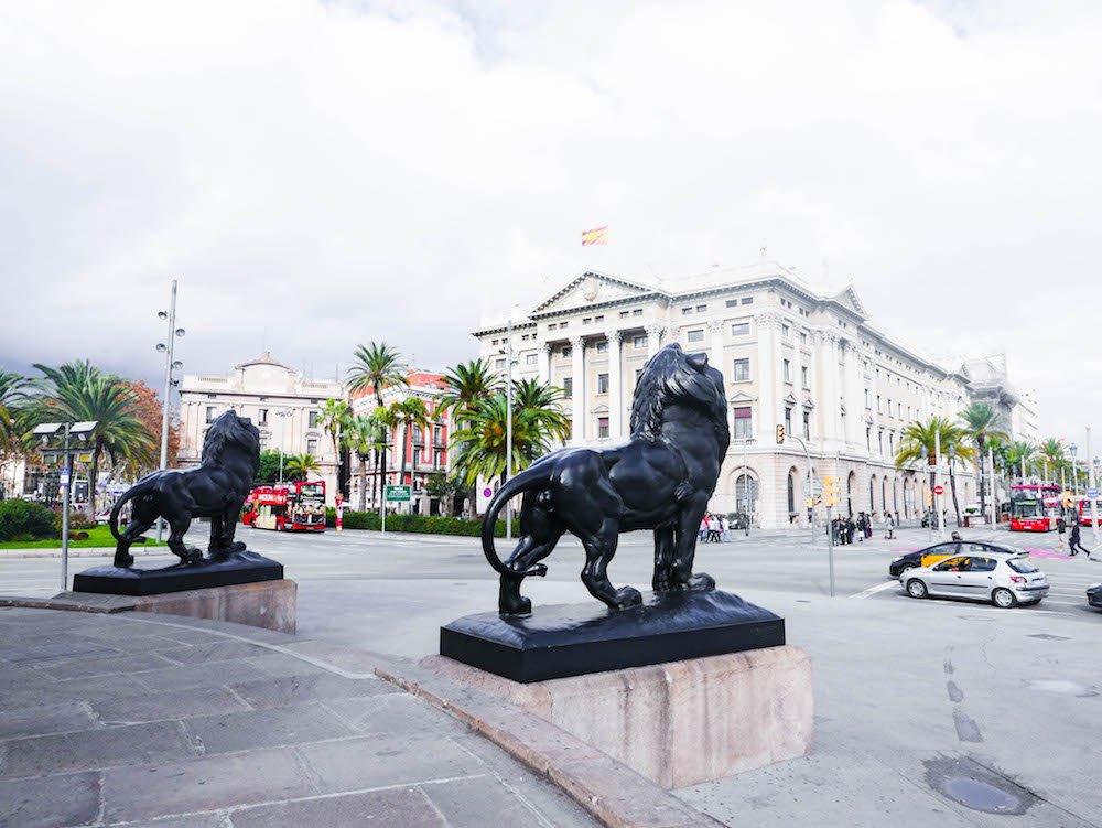Lions Columbus Monument Barcelona Spain