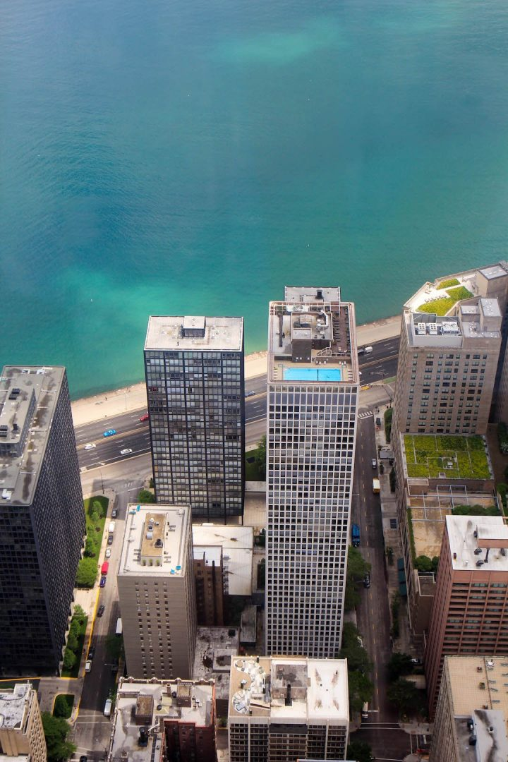 Looking down at Lake Michigan from the John Hancock Tower Observatory in Chicago