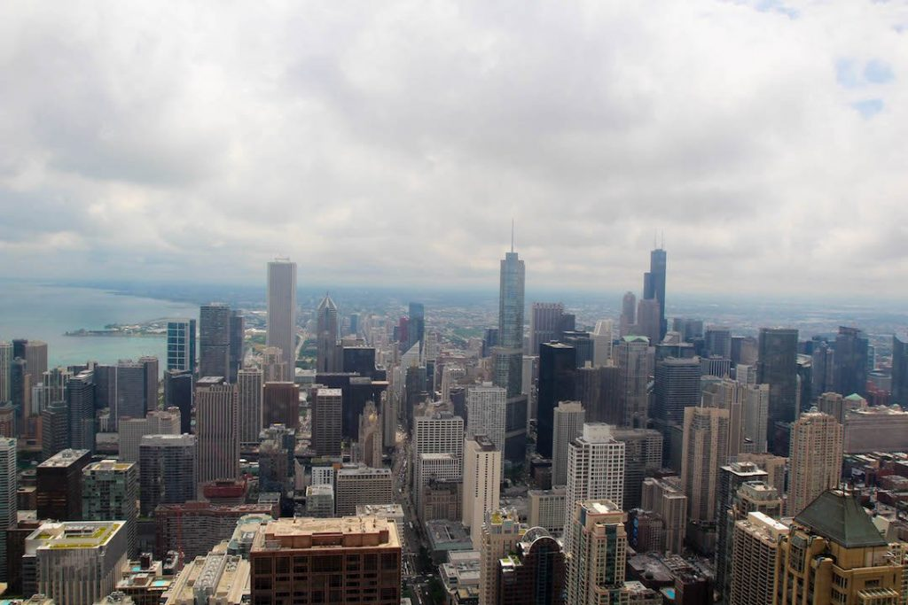 Looking out across Chicago from the John Hancock Tower Observatory