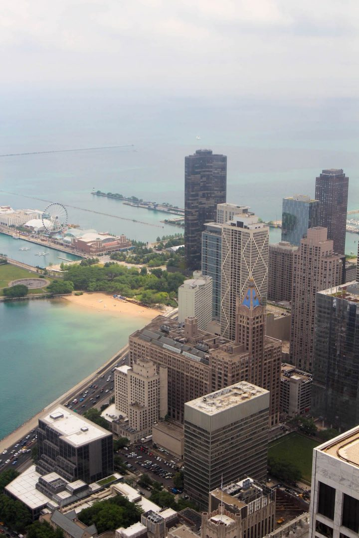A cityscape of Chicago from the John Hancock Tower Observatory