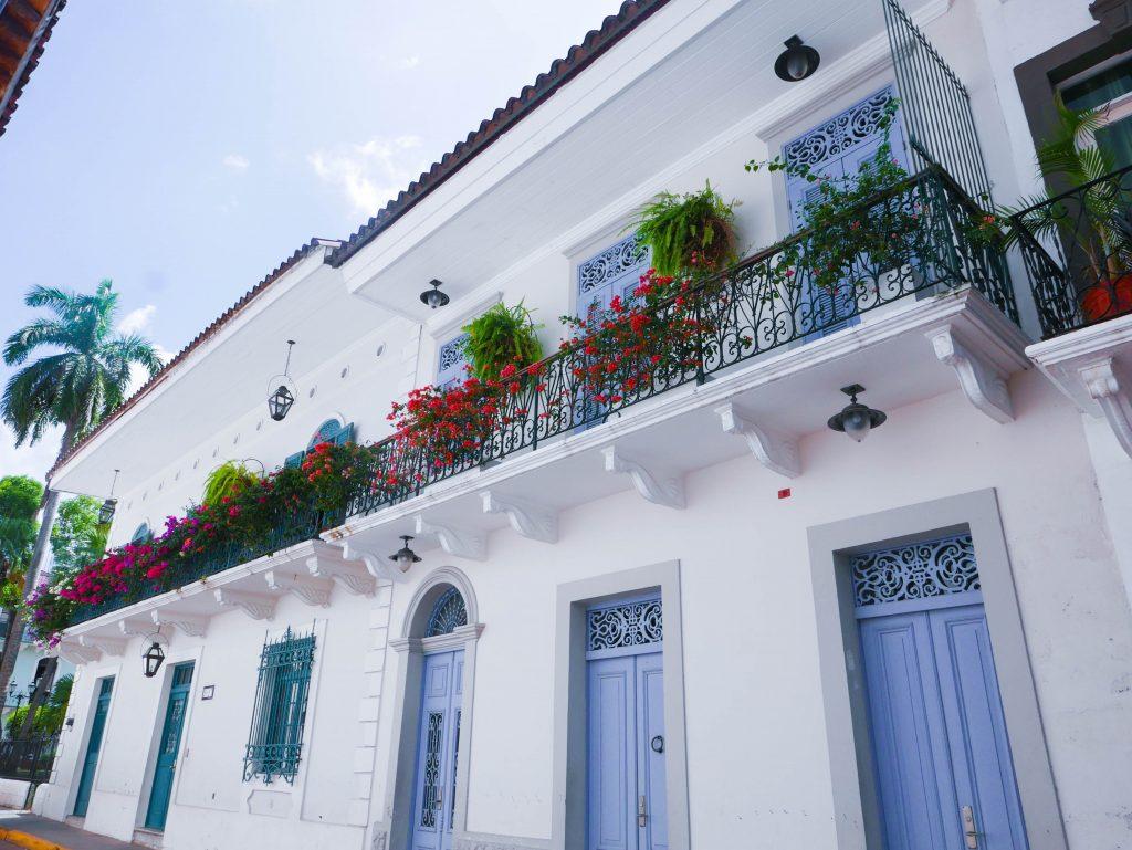 casco viejo panama city Pastel doors and balconies in casco viejo panama city