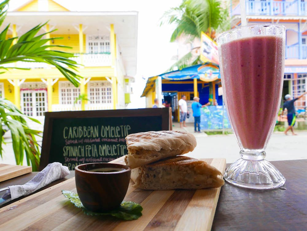 Sandwich and Smoothie from Cafe del Mar on Bocas del Toro Panama