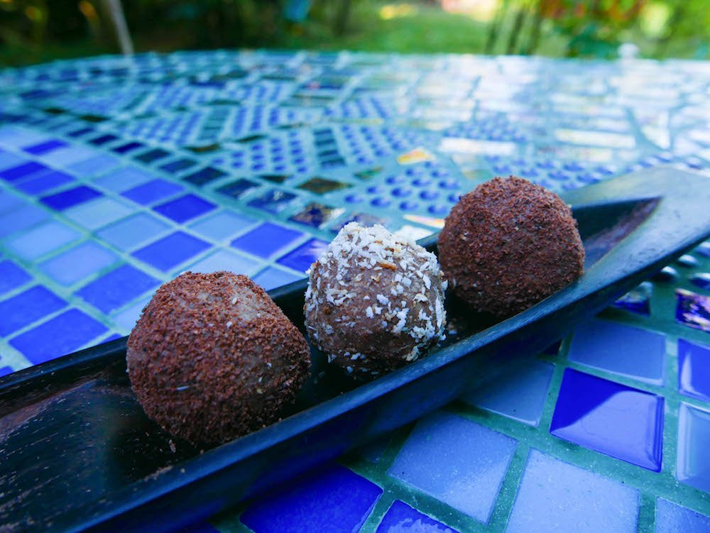 Truffles on a tiled table at Up in the Hill on Isla Bastimentos, Bocas del Toro, Panama