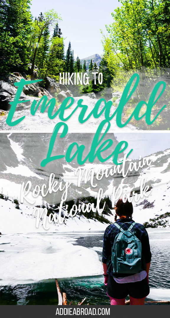 The Emerald Lake Trail is one of the most popular hikes in Rocky Mountain National Park. See beautiful alpine lakes (Nymph Lake, Dream Lake, and Emerald Lake), mountain vistas, roaring waterfalls, and of course, snow. It's a must do during your time in Rocky Mountain National Park or Estes Park, Colorado | Where to Go in Colorado | What to do in Rocky Mountain National Park | Hiking in Rocky Mountain National Park | Rocky Mountain National Park Hikes | What to do in Estes Park | Where to go in Colorado | What to do in Colorado