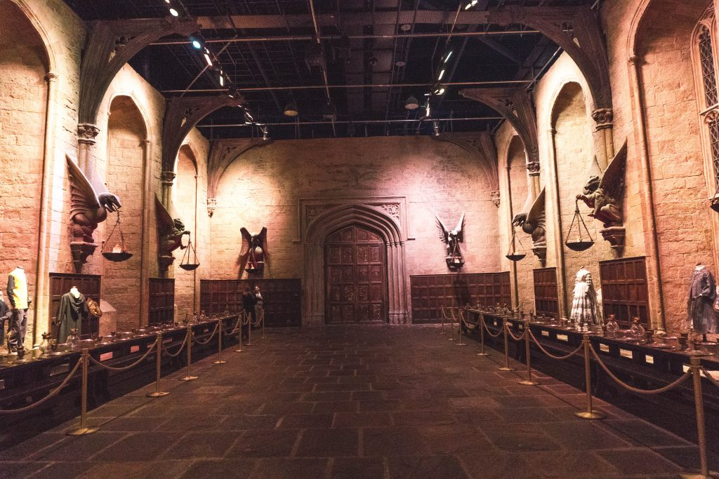 The Great Hall set at the Warner Bros Studio Tour London