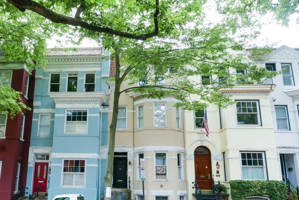 A colorful row of houses in the Georgetown neighborhood in Washington DC