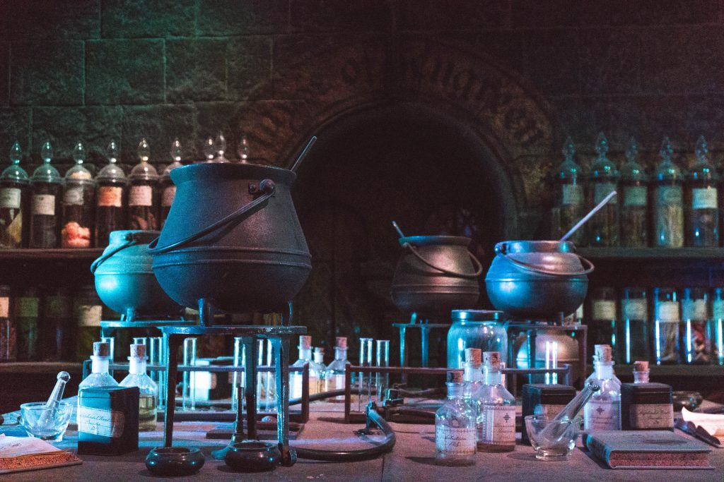 Cauldrons in the Potions Classroom/Dungeon, Warner Bros Harry Potter Studio Tour London