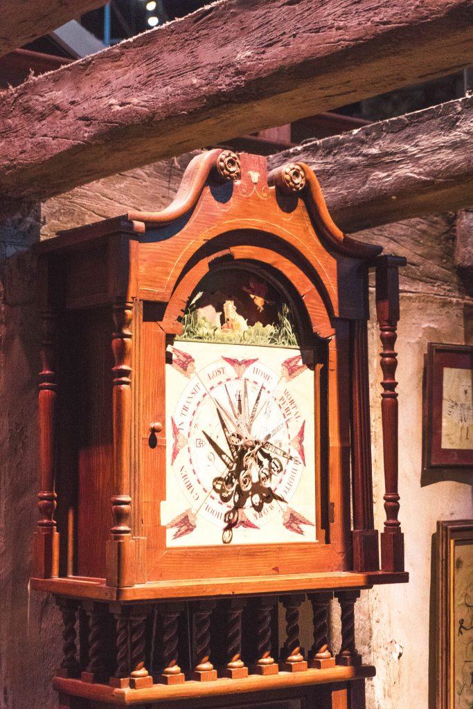 The magical clock in the Burrow, Warner Bros Harry Potter Studio Tour London