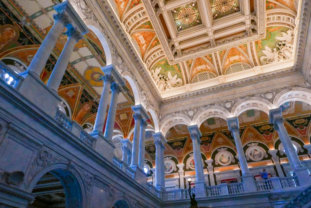 Painted ceiling and pillars in the Library of Congress, Washington DC