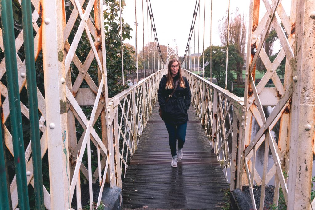 Addie on the Shakey Bridge in Cork City Ireland