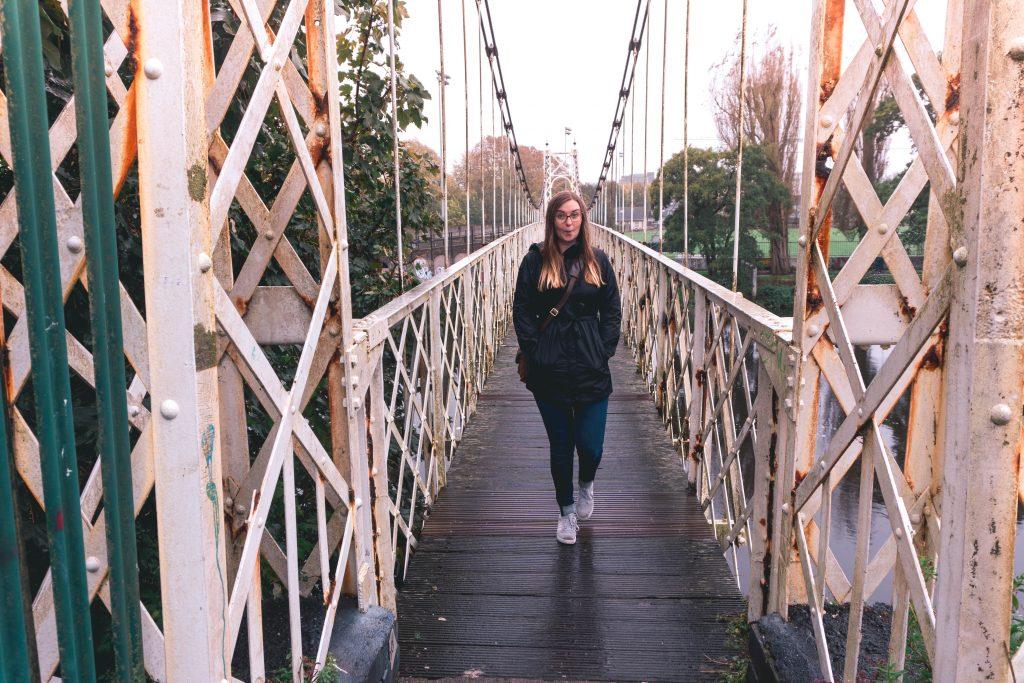 Addie on the Shakey Bridge in Cork City Ireland