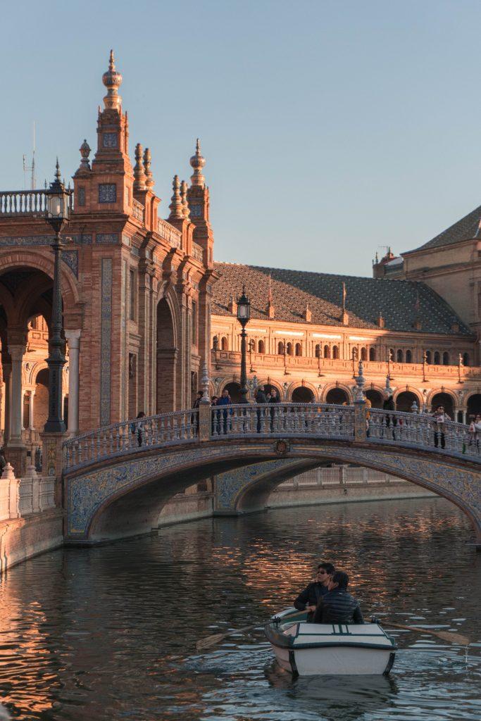 Rowboat Bridge Sunset Plaza de Espana Sevilla