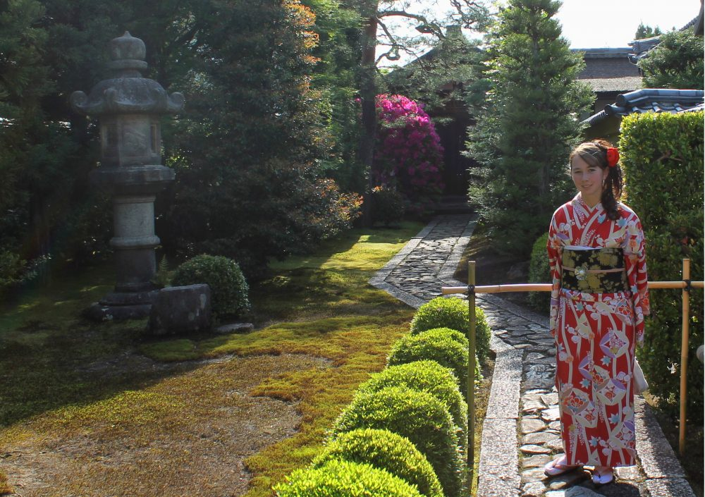 Kiyoko in a Kimono during her Japan study abroad