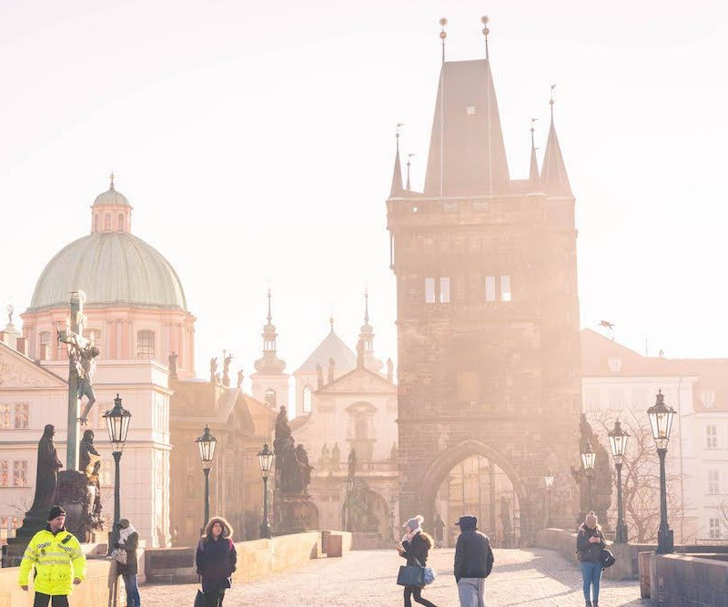The Charles Bridge early in the morning, with barely any people on it.