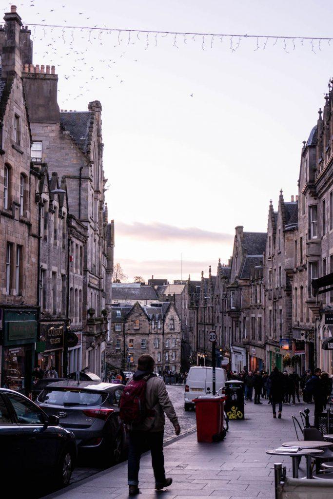 A street in Edinburgh at sunset