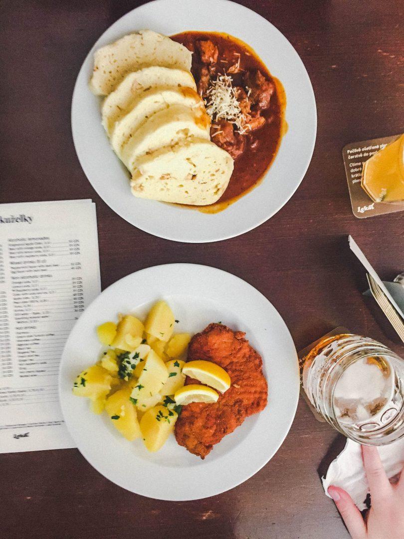 Goulash Bread Dumplings and Schnitzel