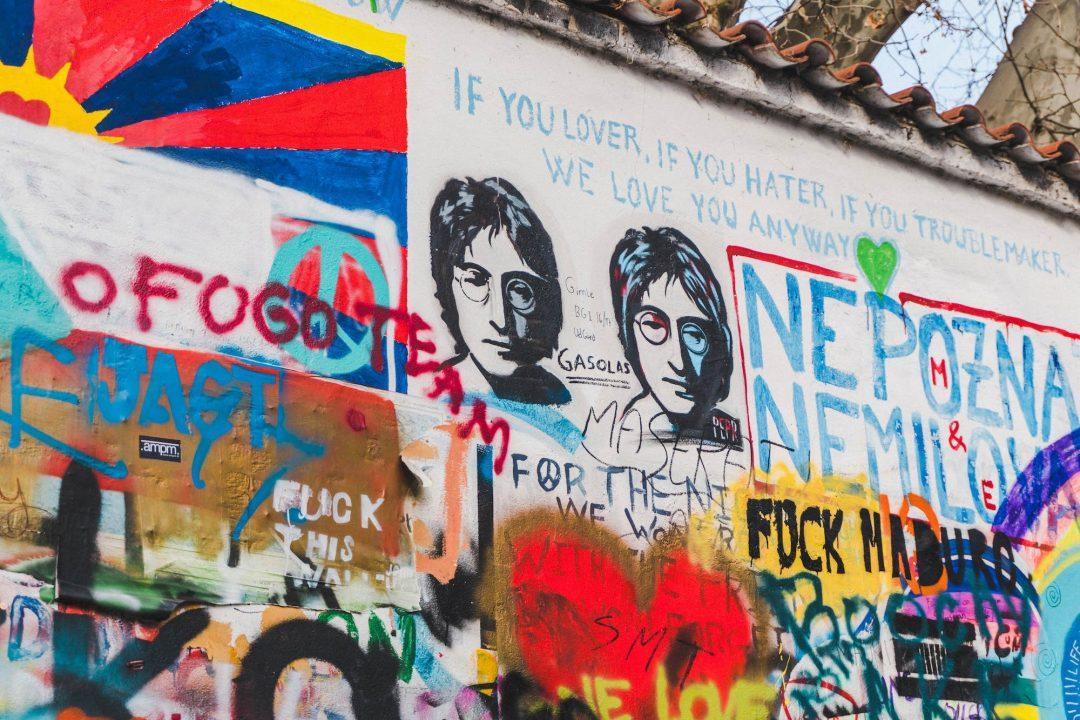 Graffiti of John Lennon at the Lennon Wall in Prague