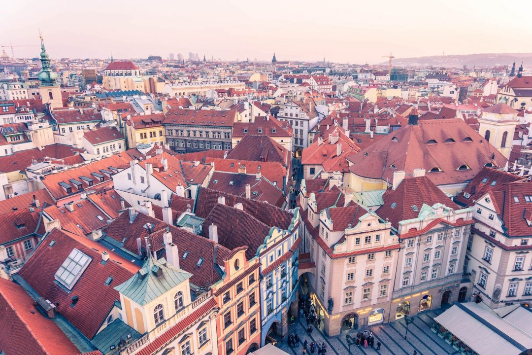 Looking down on the Old Town Square from the Astronomical Clock tower in Prague