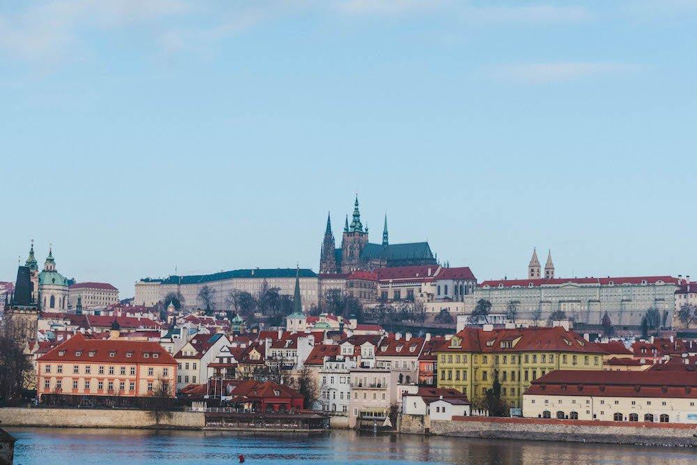 Looking across the Vltava River at Prague Castel