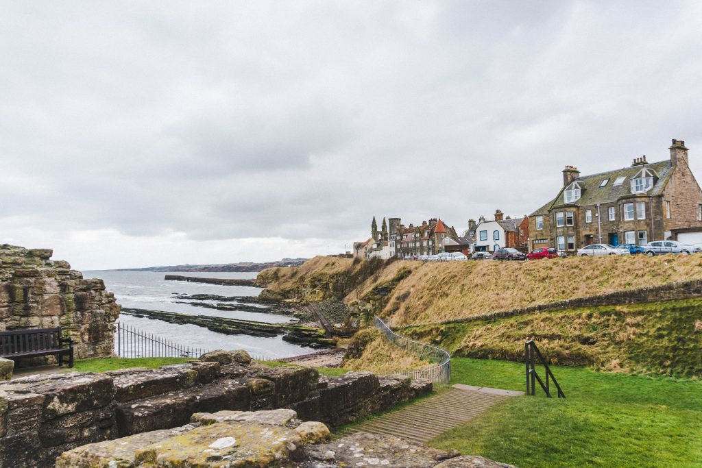 Looking at the St Andrews coastline from St Andrews Castle