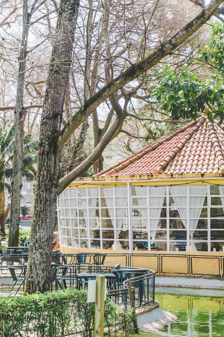 The yellow cafe at the Jardim Da Estrela Lisbon