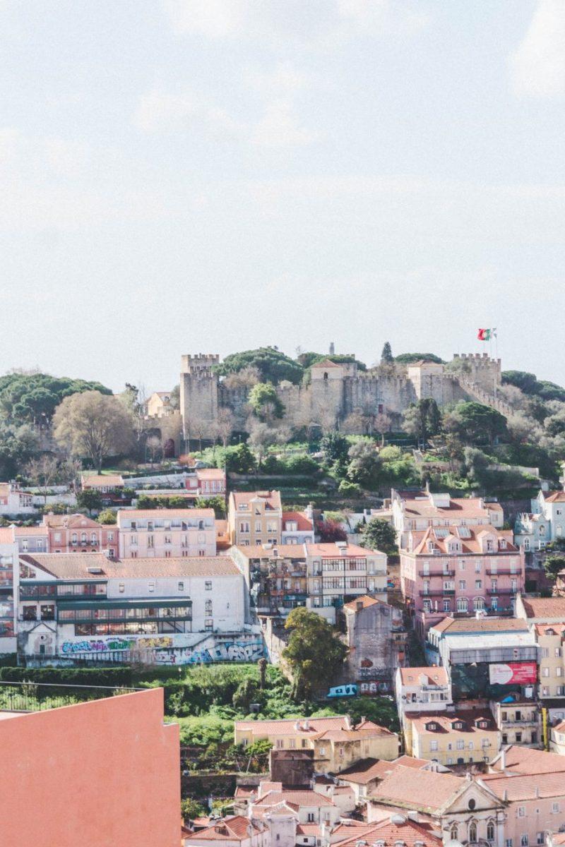 View from the MIRADOURO DE NOSSA SENHORA DO MONTE LISBON PORTUGAL
