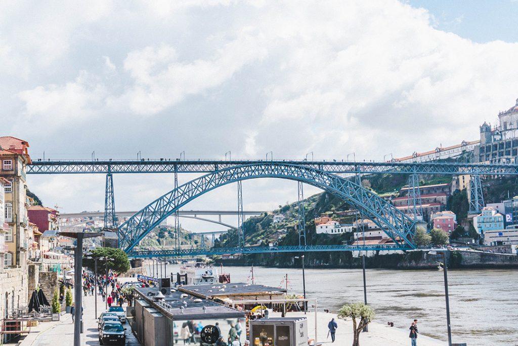 The Dom Luis I Bridge and Duoro River in Porto, Portugal