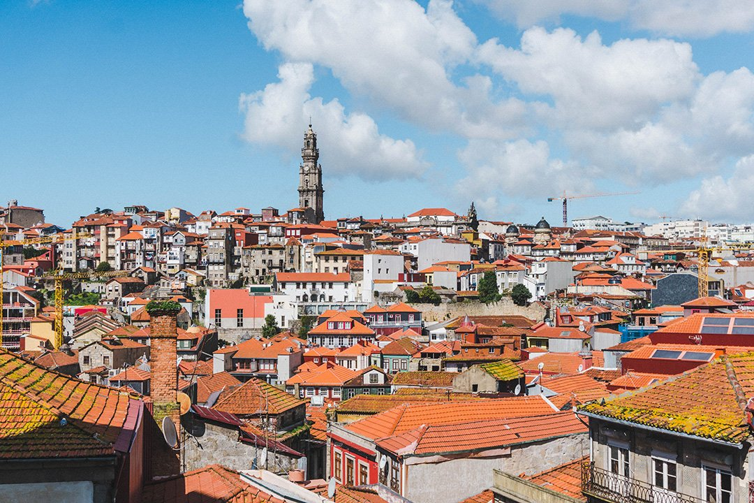 A view of the tops of buildings in Porto, Portugal