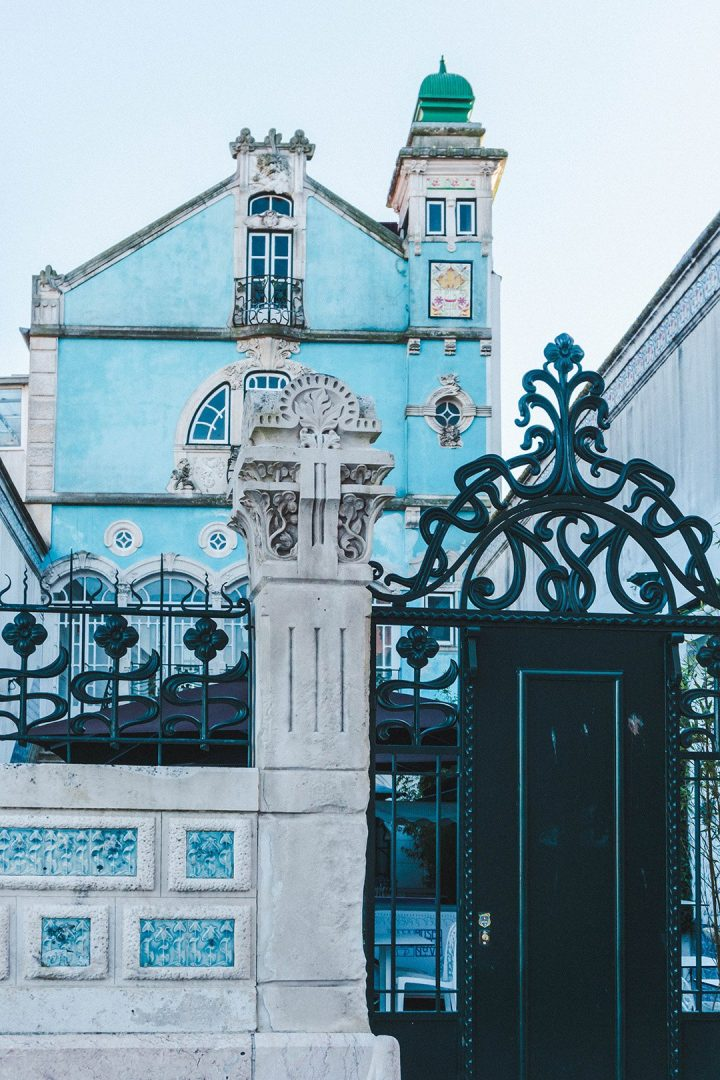 the beautiful blue building of the Art Nouveau museum in Aveiro, Portugal