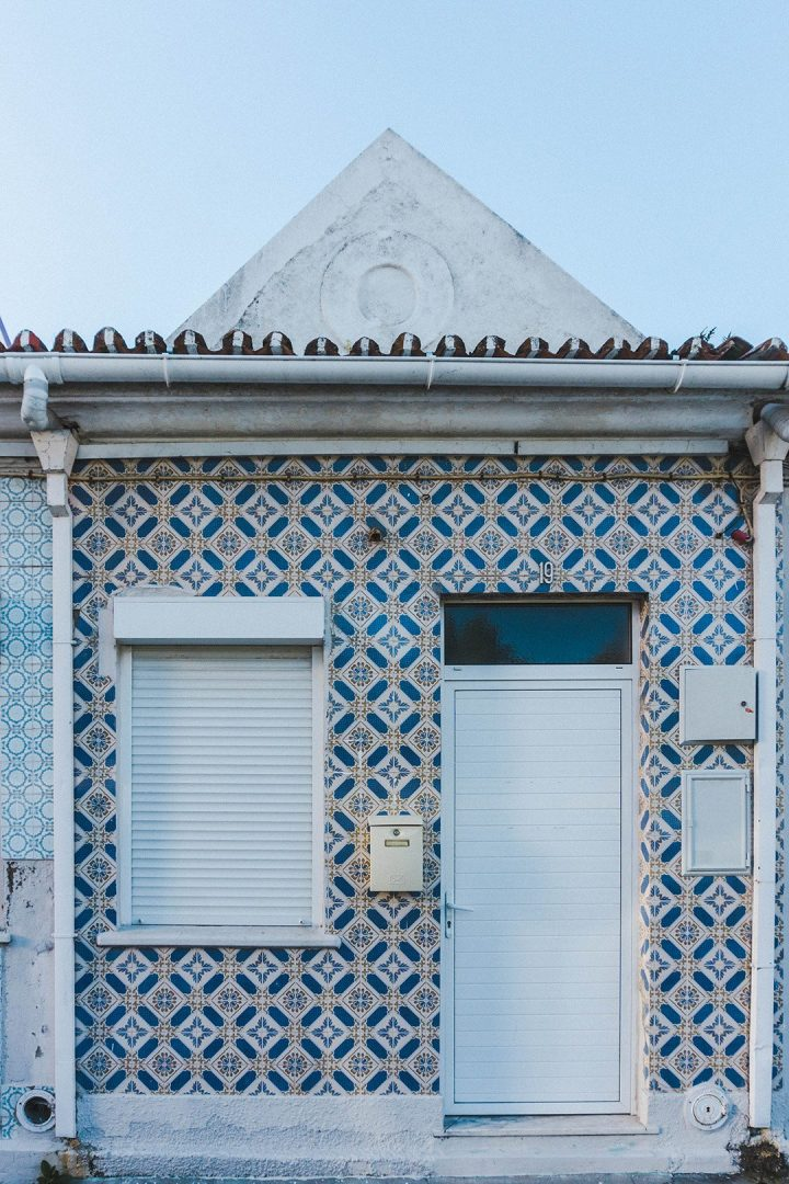 Dark blue tiled house in Aveiro, Portugal
