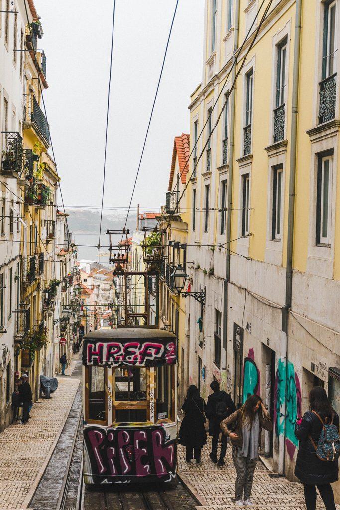 A street tram in Lisbon, Portugal