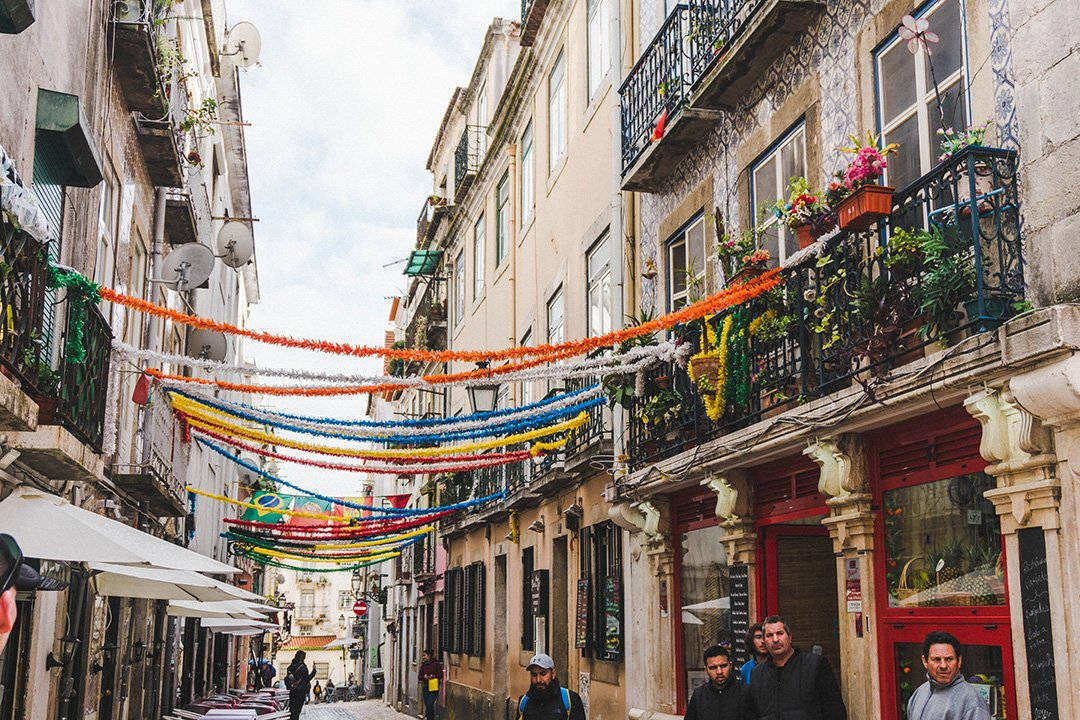 A decorated street in Lisbon, Portugal