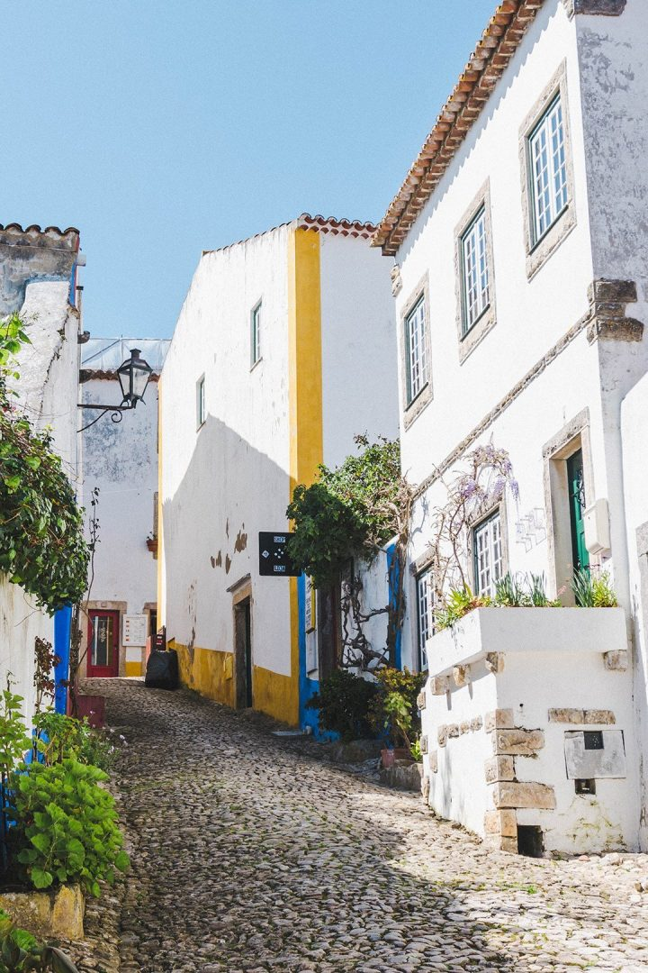 Alleyway on the way up to the walls of Obidos, Portugal
