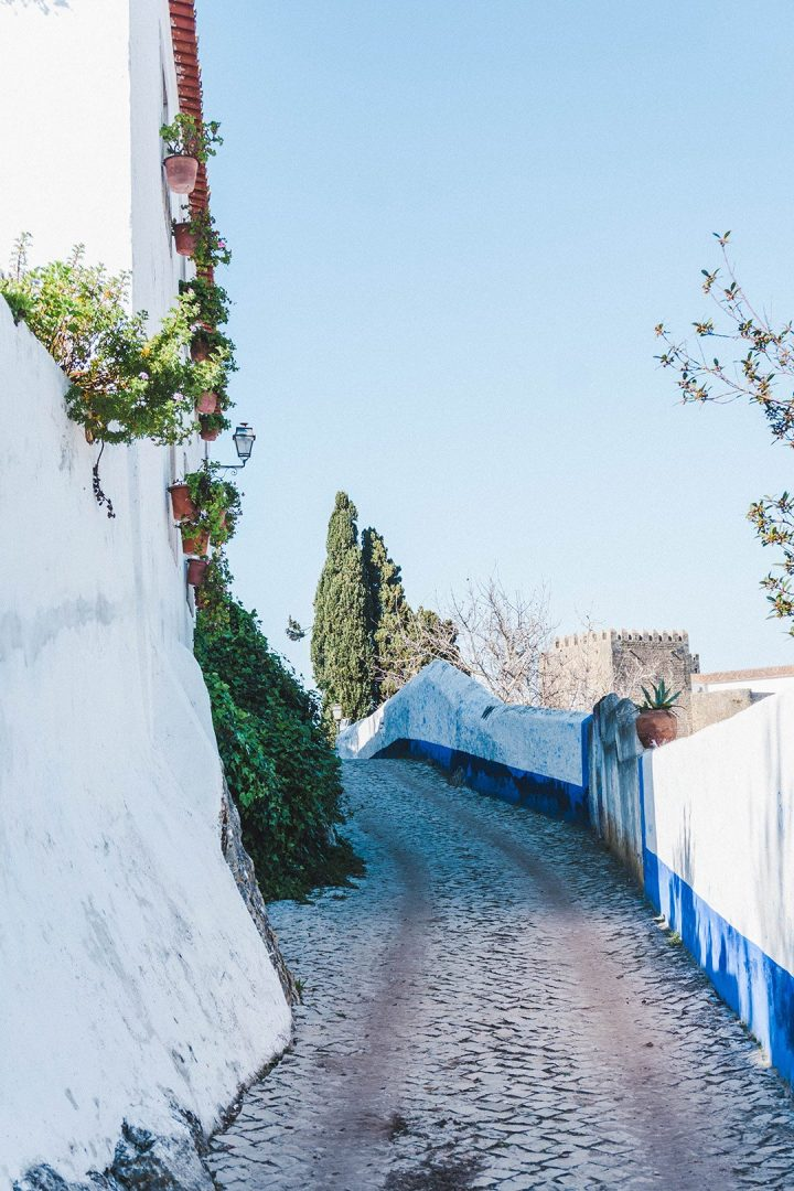 An empty street in Obidos, Portugal