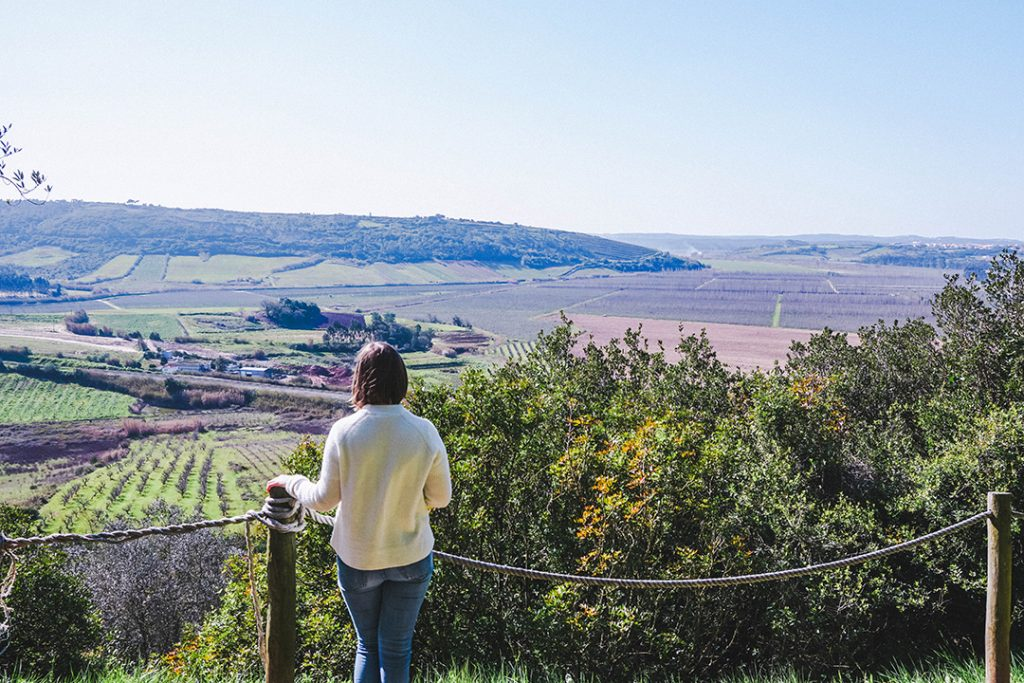 Addie looking out at the countryside of Obidos, Portugal