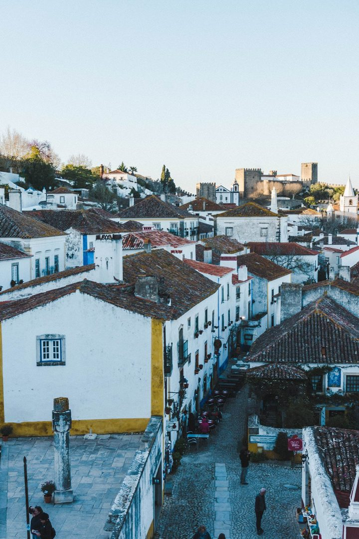 The streets of Obidos Portugal from the walls at golden hour