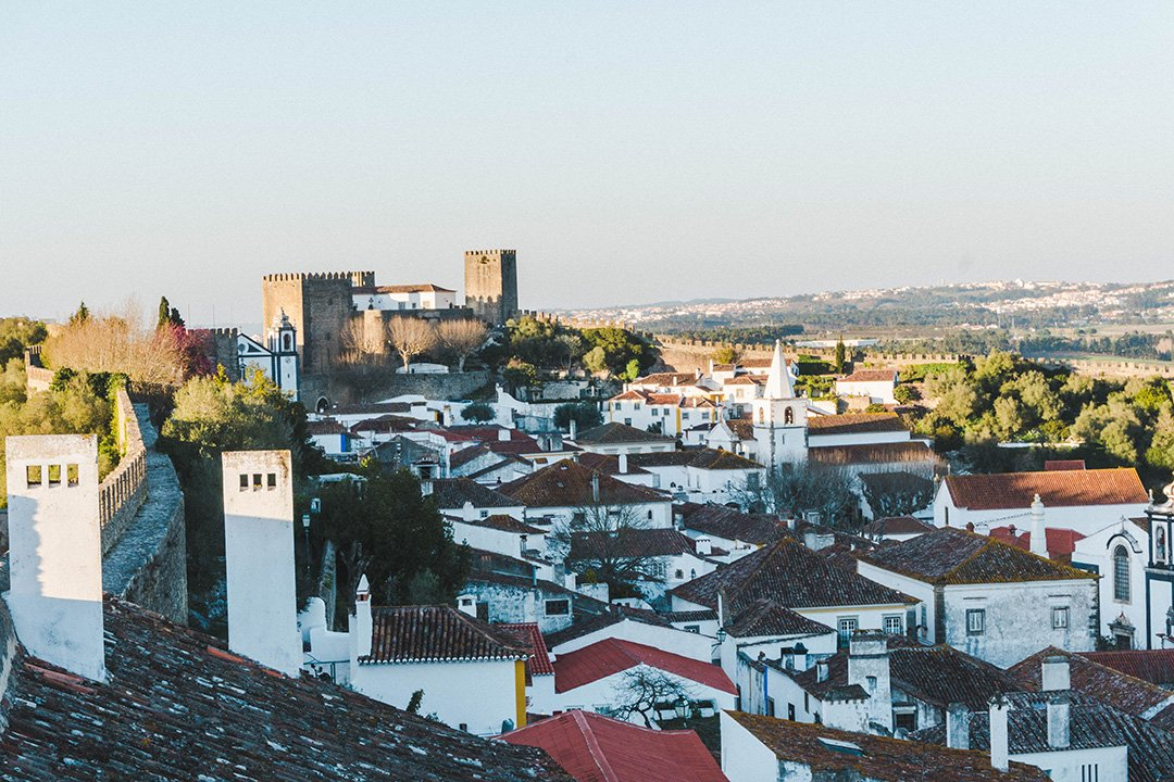 The view from the walls in Obidos, Portugal at golden hour