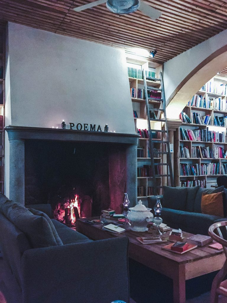 A cozy corner of the Book and Cook Restaurant in Obidos, Portugal