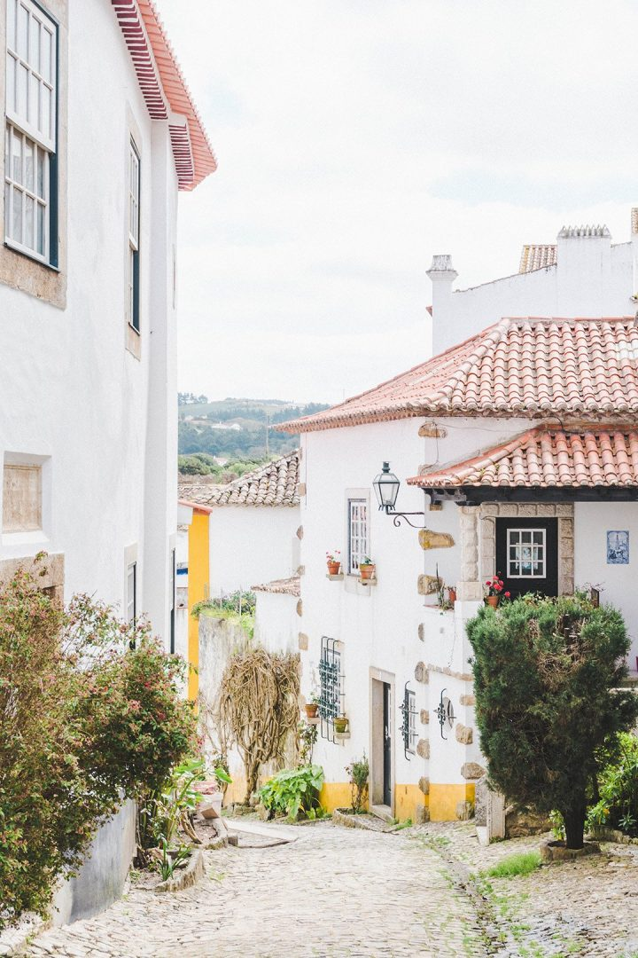 white washed walls in Obidos, Portugal