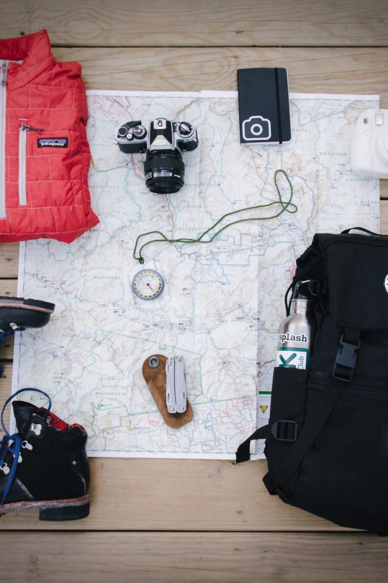 Europe backpacking gear flatlay