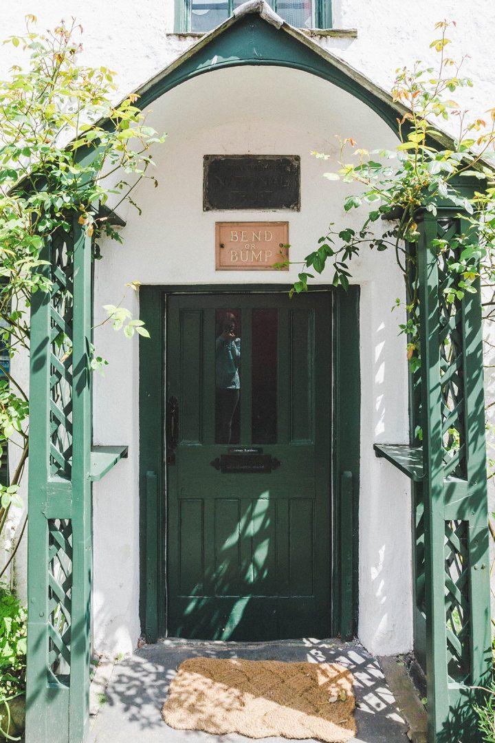 The door of the Beatrix Potter Gallery in Hawkshead, Lake District, UK