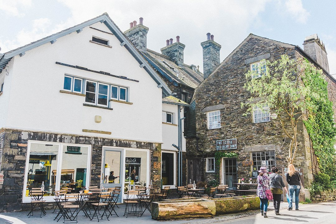A set of stores in Hawkshead, a tiny town in the Lake District, UK