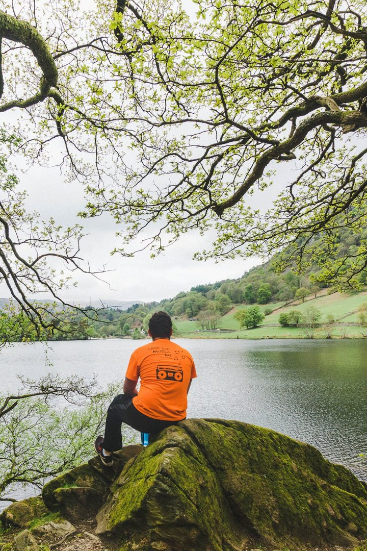 Daniel staring out at Rydal Water in the Lake District