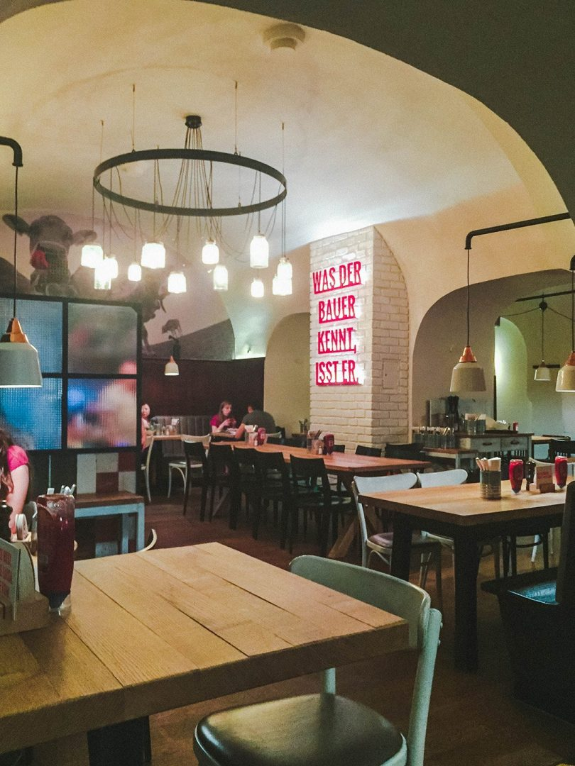 Inside of Rinderwahn, a burger restaurant in Vienna